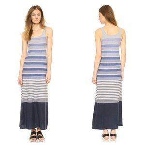 VINCE VARIEGATED STRIPE GRAY BLUE MAXI DRESS XXS